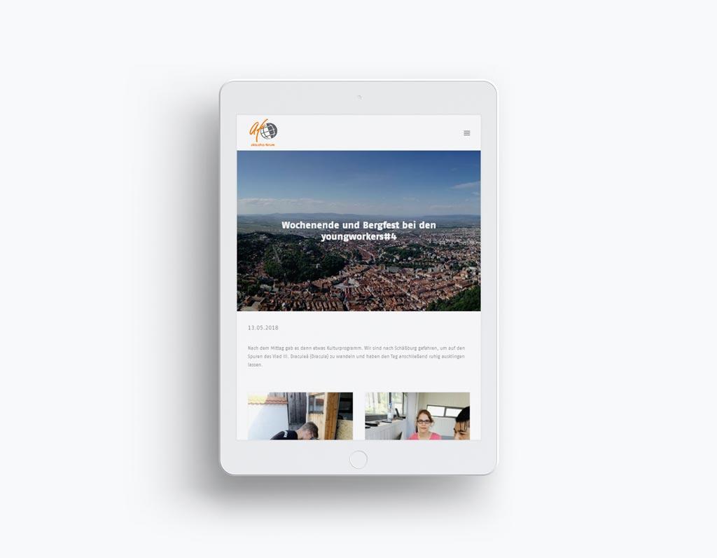 Referenz Erstellung WordPress Webseite aktuelles forum, Gelsenkirchen