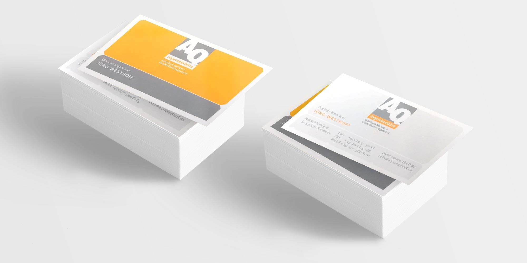 Referenz Erstellung Visitenkarte AQ-Ingenieurbüro Westhoff, Sundern