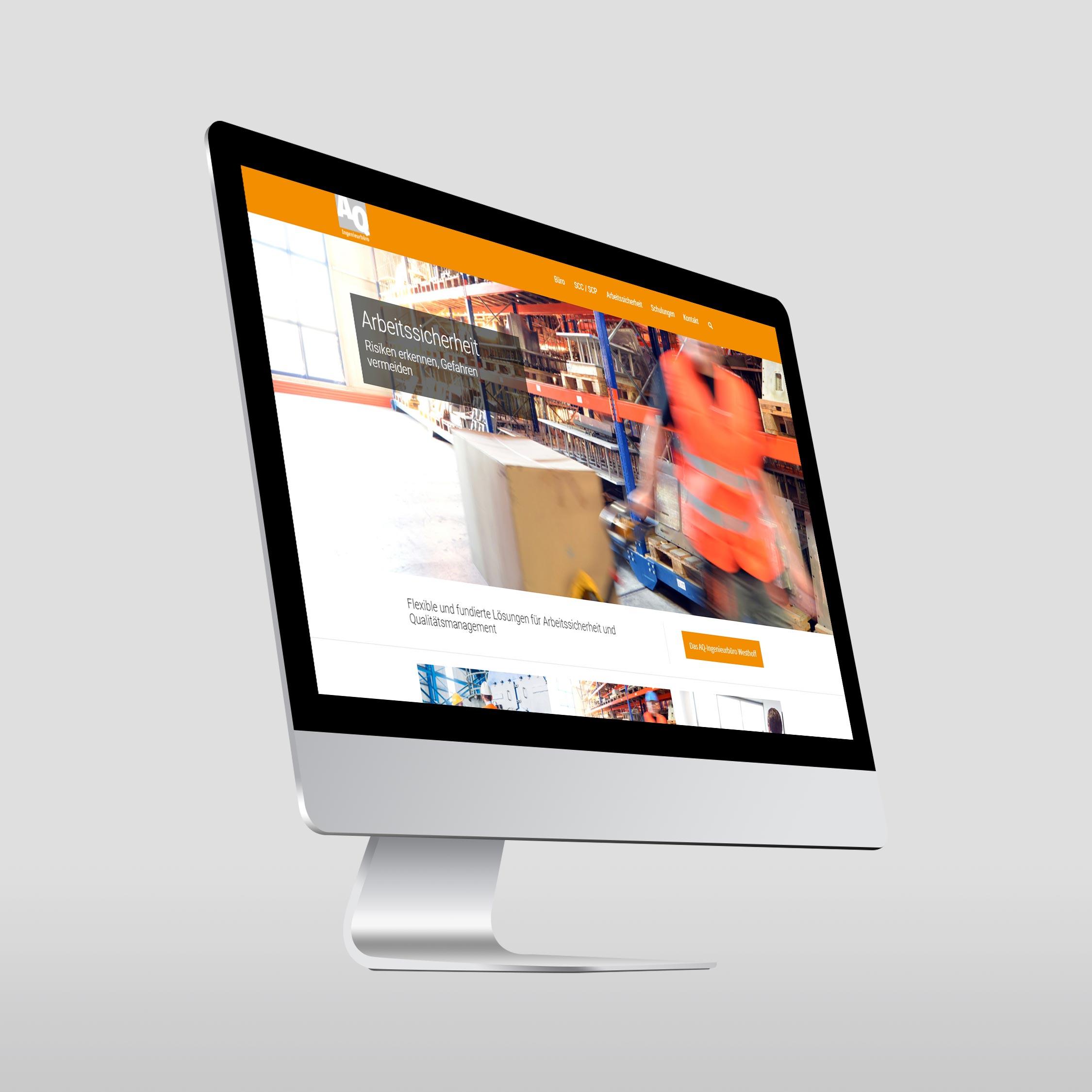 Referenz Erstellung WordPress Webseite AQ-Ingenieurbüro Westhoff, Sundern