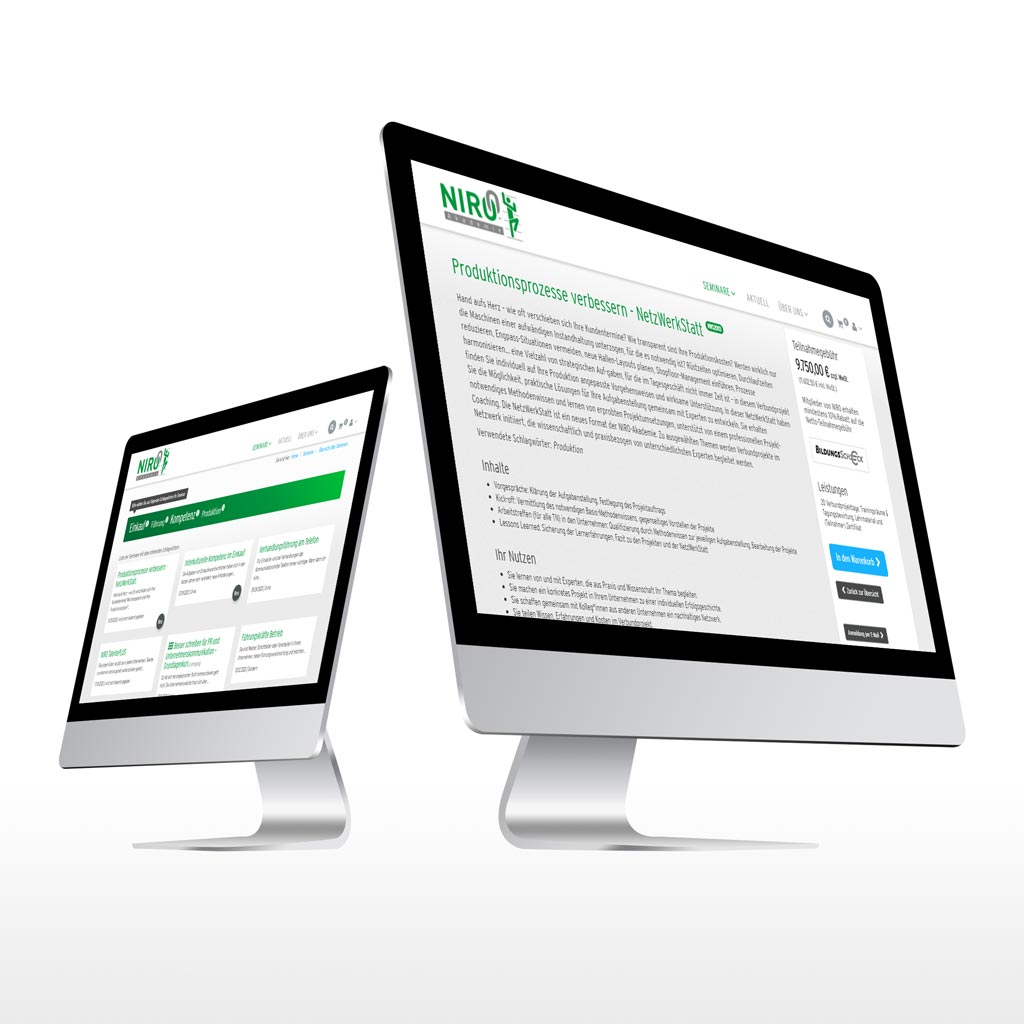 Referenz Erstellung e-commerce NIRO-Akademie, Unna
