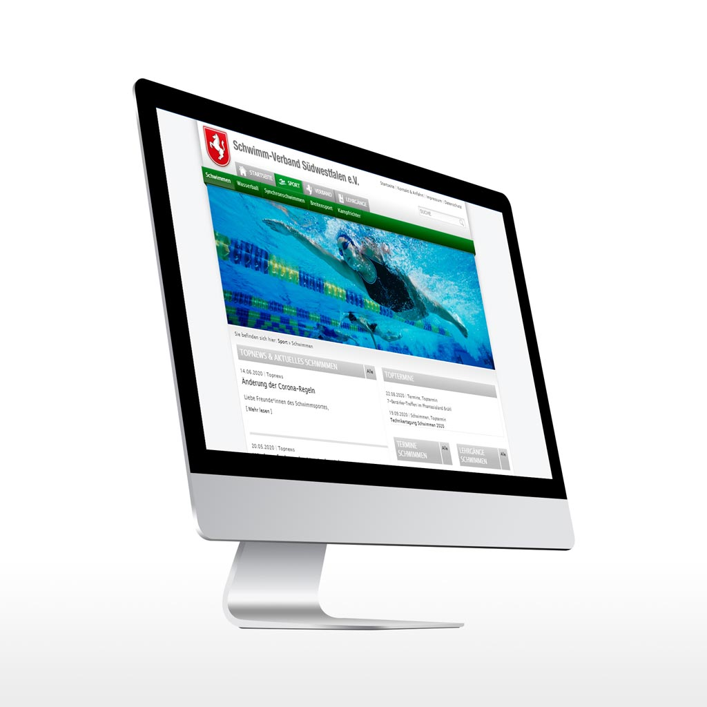 Referenz Erstellung TYPO3 Webseite Schwimm-Verband Südwestfalen e.V., Dortmund.